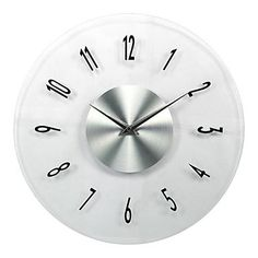 Modern White Glass Wall Clock -- my countertops are white glass.  A subtle contender.