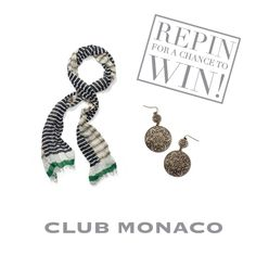 Repin for a chance to WIN the Elsalen Scarf and Ruth Earring! After you repin to one of your boards, submit the link to the pin to us by clicking the image above. Sweepstakes ends Thursday, August 23 at 11:59PM. Good luck!