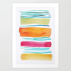 Lines & Color Block Series October 2018 Watercolor Dreamcatcher, Butterfly Watercolor, Watercolor Pattern, Watercolor Print, Pastel Watercolor, Watercolor Art Paintings, Watercolor Artists, Painting Art, Print Print