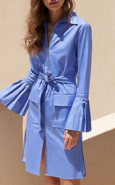 Pleated Bell Sleeve Shirt Dress by Christina Economou
