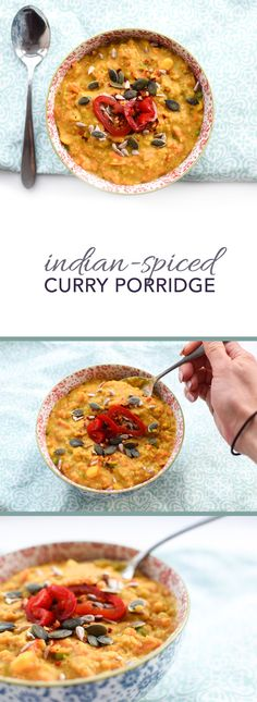 Simple Indian-spiced Curry Porridge - perfect vegetarian, dairy free (vegan, actually!) recipe for any time of day, breakfast, lunch or dinner!