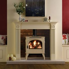 Dovre 425 Gas Stove, Dovre Gas Stoves, by Dovre Gas Stoves, The Dovre 425 traditional gas stove incorporates &lsquo up-to-the-minute&rsquo gas fire technology. This gas stove features all the charm and atmosphere of a superb log effect fire wit. Gas Stove Fireplace, Faux Fireplace, Living Room With Fireplace, Fireplace Inserts, Cream Living Rooms, Home Living Room, Living Room Decor, Dining Room, Burgundy Walls