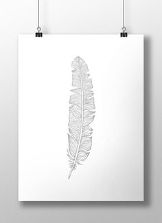 Silver Feather Print Silver Feather Wall Art by LineLightStore