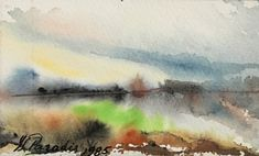 #340, aquarelle, 1985, 5'' x 3'', 15$ Paradis, Painting, Art, Foggy Morning, Watercolor Paintings, Art Background, Painting Art, Kunst, Gcse Art