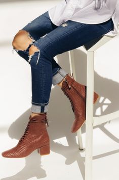 The Kamari bootie is a beautifully, rich, woven twist on our bestselling, low heel, Cleo boot. Made from soft, woven, durable nappa leather with hand-threaded, fine nappa leather laces. Can be worn all year round, with or without socks, as lining is highly breathable. #kamari #footwear #boot #leather