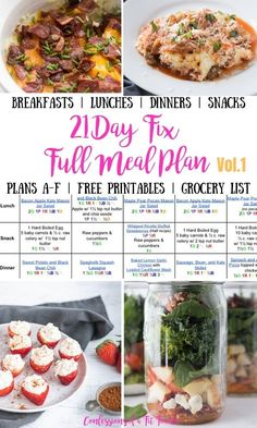 Looking for a 21 Day Fix Meal Plan to take the guesswork out of meal planning?  I've gotcha covered - and this ultimate portion fix meal plan contains super yummy breakfast, lunch, dinner, and snacks, plus FULL printable grocery list and prep tips for your week! Options for with or without Shakeology and all brackets. Awesome for beginners and perfect healthy meals for your whole family. Healthy Family Meals, Healthy Eating Habits, Clean Eating Recipes, Healthy Recipes, Healthy Foods, 21 Day Meal Plan, 21 Day Fix Meal Plan, 21 Day Fix Breakfast, Clean Eating Breakfast