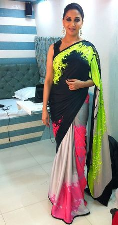 Madhuri in Satya paul saree... awesome silver and neon colors.