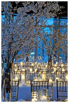 White Cherry Blossoms and Candlelight #Blue Wedding Reception ... Wedding ideas for brides, grooms, parents & planners ... https://itunes.apple.com/us/app/the-gold-wedding-planner/id498112599?ls=1=8 … plus how to organise an entire wedding ♥ The Gold Wedding Planner iPhone App ♥
