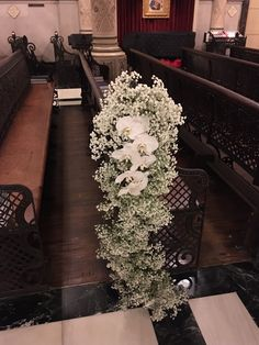 this baby's breath and phaelo orchid pew marker is a stunning way to decorate the aisle! Wedding Church Aisle, Church Wedding Flowers, White Wedding Bouquets, Church Wedding Decorations, Altar Decorations, Wedding Centerpieces, Filipiniana Wedding Theme, Pew Flowers, Wedding Isles