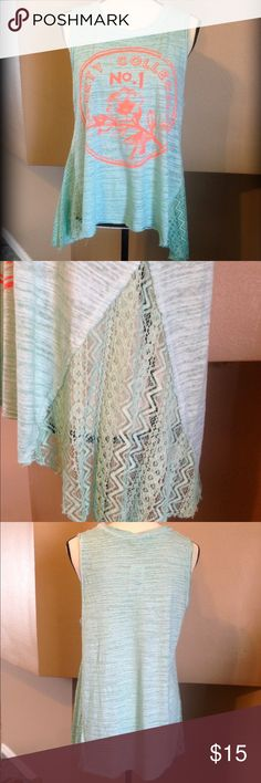 Side laced shirt Colors are called coral and mint. Cut is a little longer in the back. Scrapbook Tops Tank Tops
