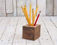 Pencil Holder from reclaimed pallet block