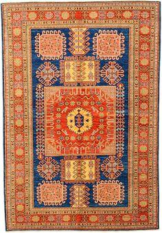 Navy Blue 5' 2 x 7' 5 Geometric Kazak Rug | Oriental Rugs | eSaleRugs