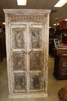 Old Vintage Architectural remnants Wooden Armoire Carving Indian Antique Cabinet Rustic Cabinets, Antique Cabinets, Antique Door Headboards, Vintage Armoire, Wooden Wardrobe, Bedroom Wardrobe, Bedroom Bed, Indian Doors, Old Doors
