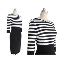 This pencil dress is in fashion European style with stripe print, color block stitching design, slim package hip hem, round collar and long sleeves. It is soft and comfortable to wear. It can show your personality perfectly. It is a perfect option for you, act now.  Features: * Contrast color ...