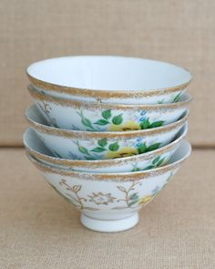 Set of Five Vintage Ice Cream / Custard Bowls - Made in Japan by MyAffordableVintage on Etsy