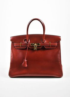 Hermes Oxblood Red Box Calf Leather 35cm