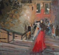 Night in Venice. Watercolor, gouashe, acrilik on a paper. Artist Lana Temina. #watercolor #gouashe #painting #venice