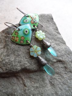 Calypso ... Enameled Copper Glass Headpins with by juliethelen