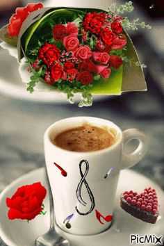 a cup of love! Good Morning Coffee Gif, Good Morning Greetings, Good Morning Good Night, Good Morning Images, Coffee Break, Coffee Cafe, My Coffee, Gif Café, Chocolate Cafe