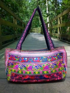 Boho Embroidery Hmong Ethnic handbag Tote Bag fashion by pasaboho