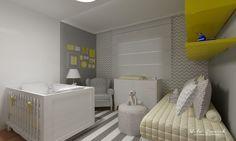 Decoração de quarto de bebê cinza, branco e amarelo