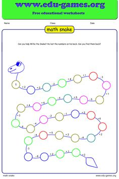 Math snake is a fun way for the students to practice basic math operations. Math snake is a fun way for the students to practice basic math operations. First Grade Math Worksheets, Free Math Worksheets, 1st Grade Math, Math Resources, Math Activities, Homeschool Math, Online Homeschooling, Catholic Homeschooling, Teaching Math