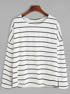 Camiseta a rayas con hombro caído