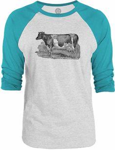 Big Texas Dairy Cow 3/4-Sleeve Raglan Baseball T-Shirt