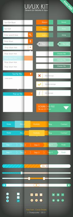 UI - UX Flat design - Free PSD by Julie Champourlier, via Behance #freebies #GUI