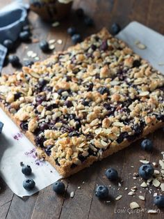 """<p>Sweet blueberry filling paired with shredded coconut and almonds make for a fantastic summer dessert!</p> <p><a href=""""https://www.lowcarbmaven.com/blueberry-crumble-bars/"""" target=""""_blank"""" rel=""""noopener"""">Get the recipe!</a></p> Blueberry Desserts, Blueberry Crumble Bars, Ketogenic Desserts, Fruit Crumble, Blueberry Oatmeal, Ketogenic Diet, Sugar Free, Low Sugar, Keto Recipes"""