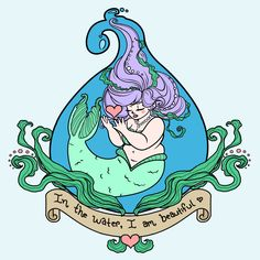 We are beautiful everywhere but can feel more beautiful in the water. <3 Fat Mermaid, Mermaid Art, Mermaid Lagoon, Unicorns And Mermaids, Mermaids And Mermen, Girly Tattoos, Fantasy Creatures, Mythical Creatures, Sea Creatures