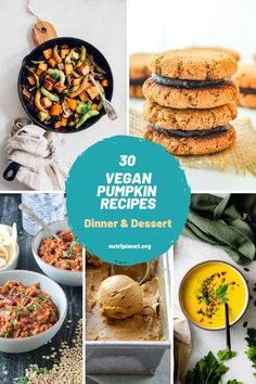 Learn how to make healthy vegan pumpkin recipes, both for dinner and dessert. From pumpkin curry and soups to pumpkin pie, blondies, brownies and ice cream. #veganpumpkinrecipes #veganpumpkindessertseasy #veganpumpkindessertrecipes #veganpumpkinbread #veganpumpkinmuffins #veganpumpkincookies #veganpumpkinpie #veganpumpkinsoup