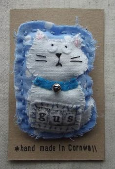 Mixed Textile Cat Brooch For sale at: https://www.etsy.com/shop/ThePresents