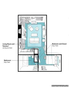 Martha Stewart, West Village apartment The Floor Plan  The total square footage of the apartment is 307 square feet. It's easy to see why Sarah was feeling the pinch. Luckily, the home editors came up with the following ideas to ease the squeeze    Read more at Marthastewart.com: 35 Home Tours