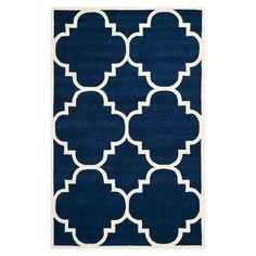Hand-tufted+wool+rug+in+dark+blue+with+a+quatrefoil+motif.+Made+in+India.  +  Product:+RugConstruction+Material:+100%+...