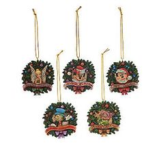 Jim Shore Disney Traditions 5-piece Wreath Ornament Set