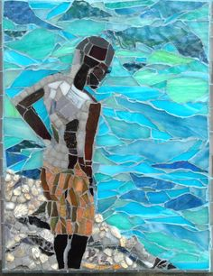 """""""About to Jump""""  stained glass mosaic by Roslyn Zinner.  Follow me for all my fine art mosaics.  Contact for purchase  information rozzinner@gmail.com"""