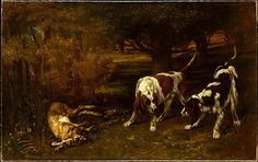 Gustave Courbet (French, Ornans 1819–1877 La Tour-de-Peilz). Hunting Dogs with Dead Hare, 1857. The Metropolitan Museum of Art, New York. H. O. Havemeyer Collection, Gift of Horace Havemeyer, 1933 (33.77) #dogs