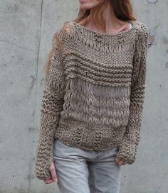 Artículos similares a suéter beige, Chunky sobre suéter tamaño grunge punto flojo, en Etsy