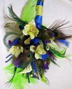 Green Lime Purple And Turquoise Wedding | Wedding Peacock bouquet Royal blue Lime green Purple | AmoreBride ...