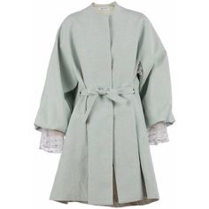 ADELINA RUSU - Blue Linen Kimono Coat ($1,270) ❤ liked on Polyvore featuring outerwear, coats, embroidered kimono, green kimono, long blue coat, embroidered coats and checked coat