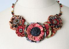 this is so pretty!!!!! Red Statement Necklace, Textile Necklace, Floral Statement Necklace, Red and Black (from rosyposydesigns etsy shop)