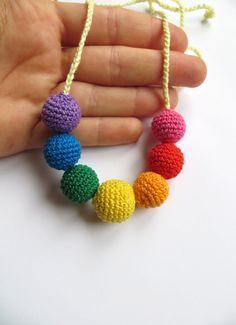 ON SALE Petite Rainbow nursing necklace Babywearing rainbow necklace Crochet organic teething necklace Natural baby teether Mommy necklace