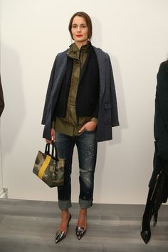 Shades of Navy blue and olive layers, pewter shoes and a camo bag with a nice touch of yellow.