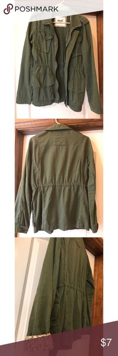 Military green jacket. Purchased from PAC Sun. Thin. Lightweight. Super cute floral detail. Kirra Jackets & Coats Utility Jackets