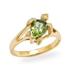 Turtle Ring with Peridot in 14K Yellow Gold at depaulas.com