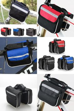 [Visit to Buy] New Outdoor Sports Mountain Road Bicycle Bike Frame Saddle Bag Cycling Pannier Front Tube Bags Double Sides Red/Blue/Black #Advertisement