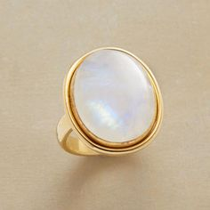 Rainbows in the Clouds Ring - Moonstone, 14kt Gold Plate on Sterling Silver