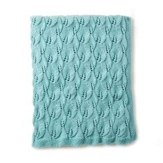 Caron Leafy Green Knit Afghan This beautiful leaf inspired knit lace panel is a great way to build on your knitting skills! Knit using Caron One Pound this yarn comes in a large skein and a variety of colors plus, its machine washable! Afghan Patterns, Baby Knitting Patterns, Free Knitting, Crochet Patterns, Blue Baby Blanket, Afghan Blanket, Knitted Afghans, Knitted Baby Blankets, Knitting Supplies
