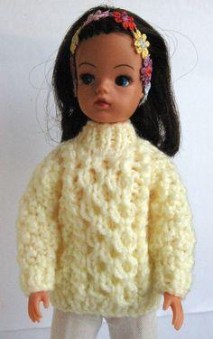 Lemon Aran Sindy DOLL Sweater / jumper, fit Tammy Tressy Barbie Petra Tilda